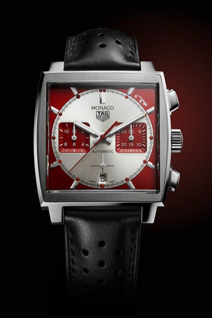 The New Monaco dial has an unusual red-and-white colorway