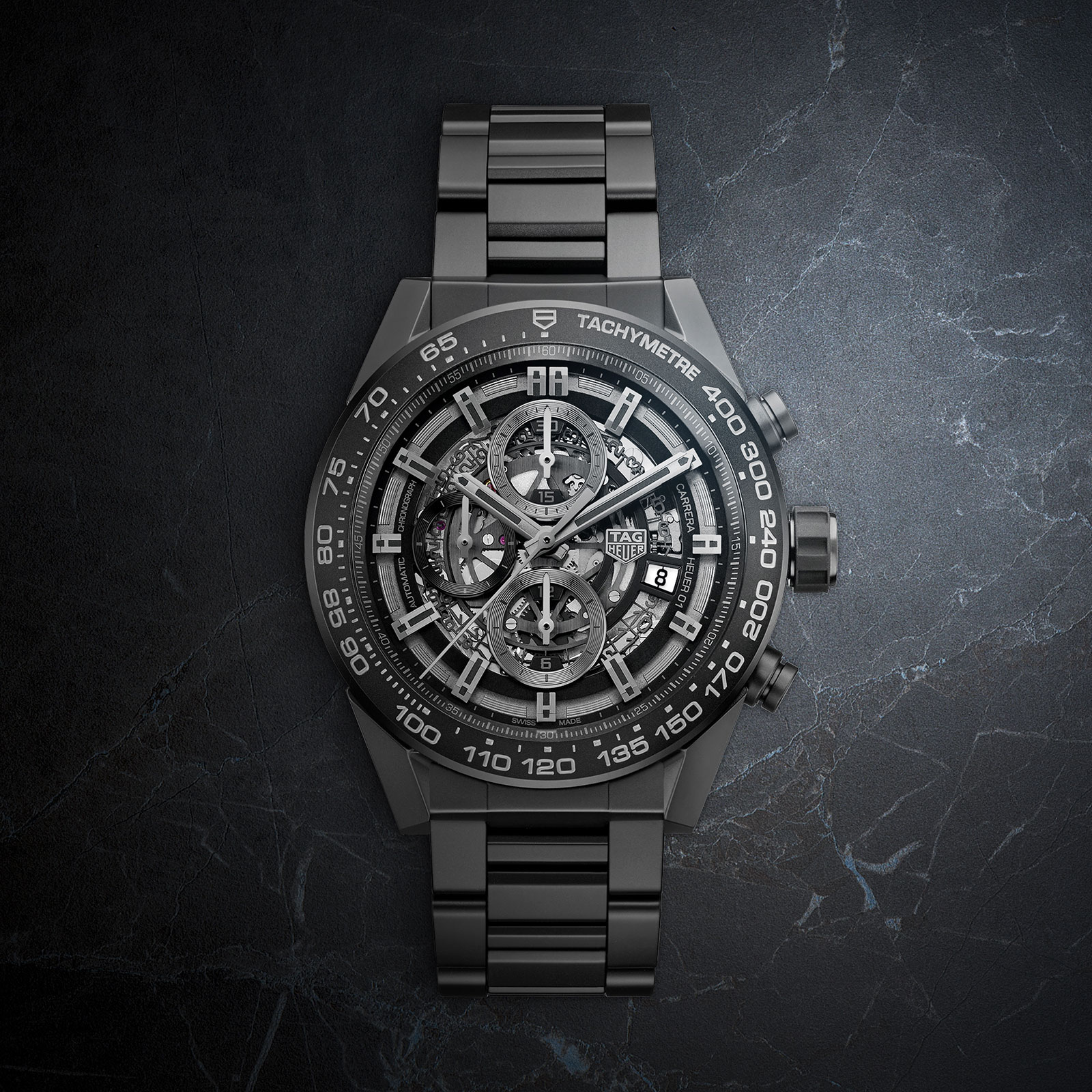 TAG Heuer Carrera Heuer-01 Replica in Black Ceramic